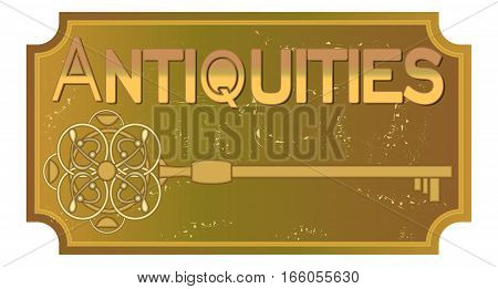 Antiquities signboard in old metal design with ancient key ancient patinated brass