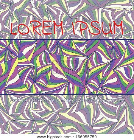 Card, Cover, Invitation, Banner From Abstract Colorful Patterned Background. Hand-drawn Ornament Of