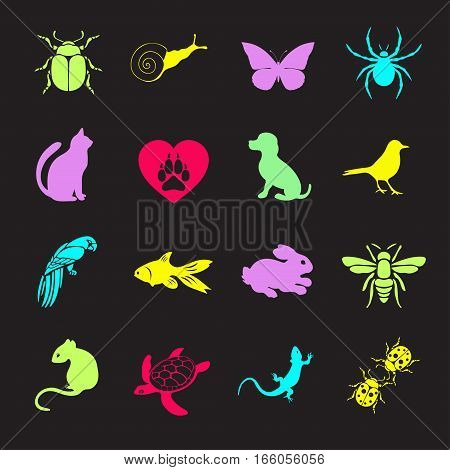 Vector Set Flat Web Icons Animals And Insects. Multicolored  For Internet, Mobile Apps, Interface De