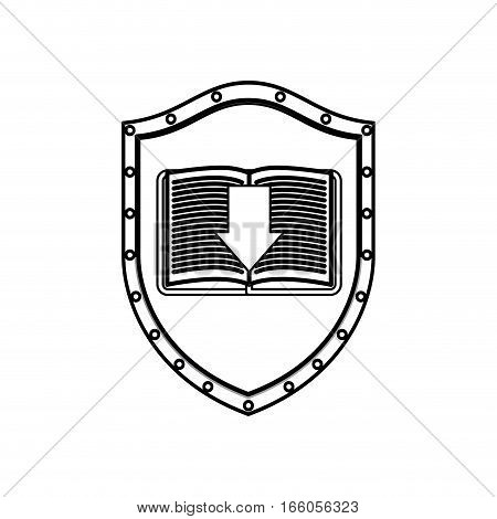 silhouette shield with textbook and arrow vector illustration