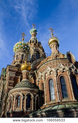 Saint Petersburg 01/20/2017: The temple is a museum and a monument of Russian architecture, in memory of the Emperor Alexander - 2, back in 1881, was mortally wounded by the king, as a result of a terrorist act.