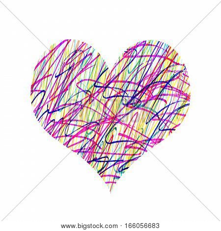 Abstract heart with bright colorful messy pattern on white background