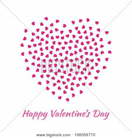 Abstract Vector Elegant Heart with small pink Hearts for Valentines Day card Background Design. Wedding Invitation Card. Vector illustration EPS10. Logo emblem for health care, medical, treatment.