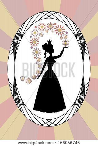 Vintage lady silhouette lady throwing flowers in oval frame on rays background art deco style