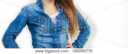 Woman In Denim Jeans Shirt