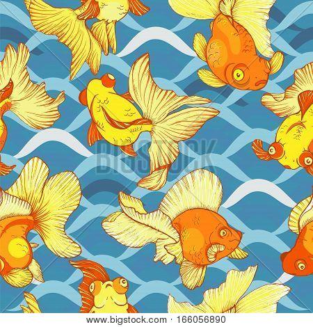 underwater life goldfish seamless pattern vector illustration