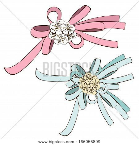 Set of bows pink bow and blue bow with white flowers. Painted decorative element hand-drawing cartoon detail nice addition to the image. Vector illustration