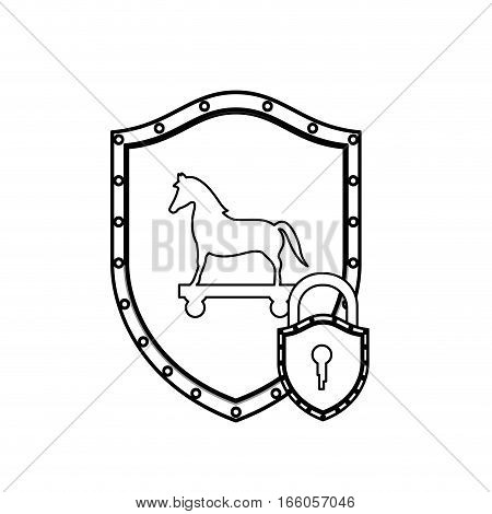 monochrome silhouette with shield with trojan horse and padlock vector illustration