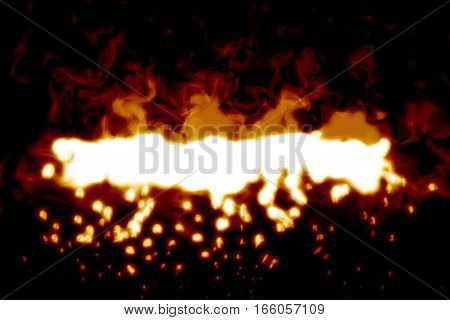 Digital Realistic Fire Flame On Black Background