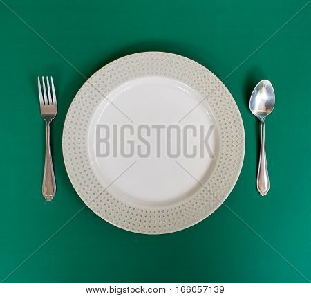 Dish spoon and fork on green background