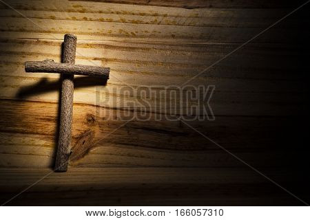 Christian cross on wood, holy week, religion.
