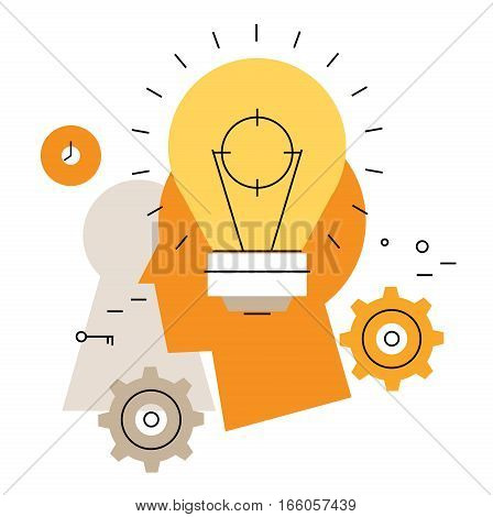 Brainstorming flat line business vector illustration design banner. Creative thinking, analysis, education, research, business idea background. Design for learning, problem solving, trainings, courses