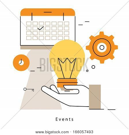 Promotion, planning events, business organization, marketing campaigns, time management, calendar flat line vector illustration design banner. Advertising concept for mobile and web graphics