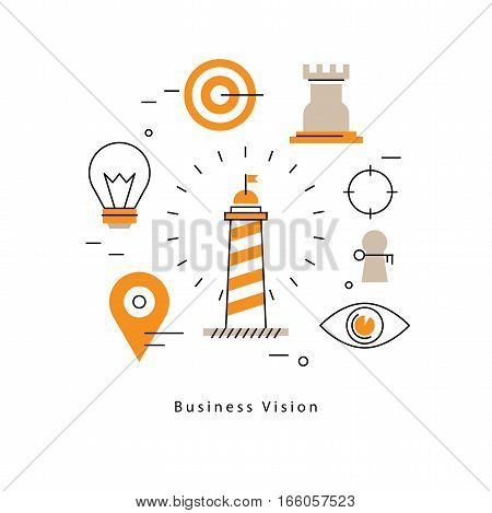 Strategic planning, company vision statement, business mission, goals management flat line vector illustration design banner. Business leadership concept for mobile and web graphics