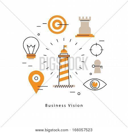 Strategic planning, company vision statement, business mission, goals management flat line vector illustration design banner. Business leadership concept for mobile and web graphics poster
