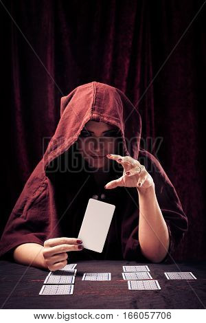 spooky fortune teller with blank tarot card - easily add your own message or design.