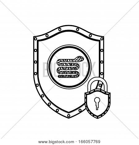 monochrome silhouette with shield with serpent virus and padlock vector illustration