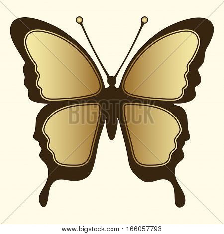 Golden Butterfly. Luxury Design, Expensive Jewelry, Brooch. Exotic Patterned Insect, Tattoo, Decorat