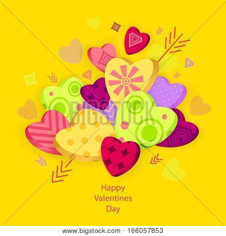 Textured Hearts with 3D effect and arrow on orange  for Poster or for Creative Post Card from Happy Valentines Day