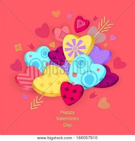 Textured Hearts with 3D effect and arrow on pink for Poster or for Creative Post Card from Happy Valentines Day