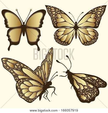 Golden Butterfly Set. Luxury Design, Expensive Jewelry, Brooch. Exotic Patterned Insect, Tattoo, Dec