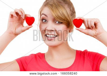 Funny Woman Holds Red Hearts Love Symbol