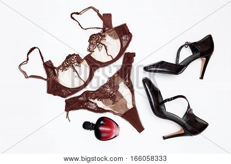 Women's accessories. underwear with perfume and shoes