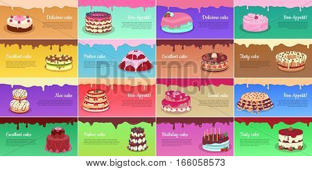 Delicious cake. Bon appetit. Exclusive cake. Festive cake. Excellent cake. Tasty cake. Nice cake. Good cake. Birthday cake. Collection of chocolate cakes. Greeting cards, web banners Vector