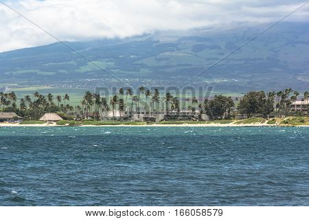 View of Kahului sand beach in a windy day, Maui