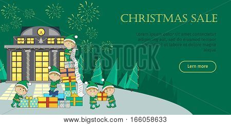 Christmas sale web banner. Christmas elves packing presents gift boxes according to wish list. Big Xmas sale glowing shop. Store with lighted windows. Discount and holiday season. Firework. Vector