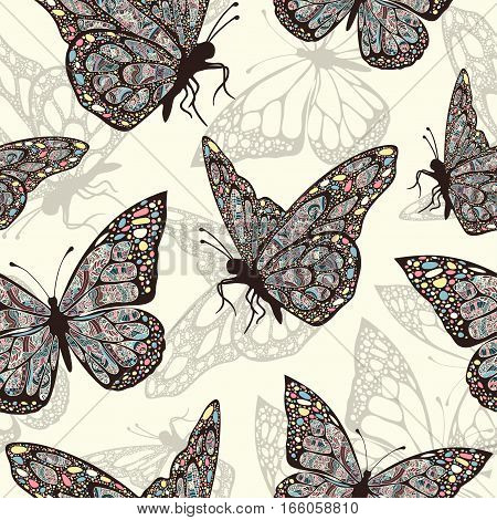 Butterflies With Multicolored Oriental Ornament In Style Boho, Hippie, Seamless Pattern, Ethnic Desi