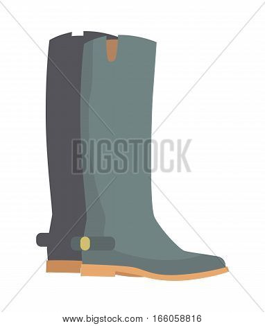 Winter boots isolated on white. Grey rubber boots. Leather winter shoes without high heels. Women rain Boots in flat style design. Two leather boots vector illustration. Footwear sign symbol icon.