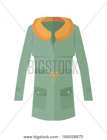 Women jacket with fur collar isolated on white. Cozy autumn and winter clothes. Fashionable outerwear. Winter jacket icon flat style design. Fashion wear. Woman long coat illustration. Vector