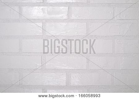 Square white brick wall background shot closeup