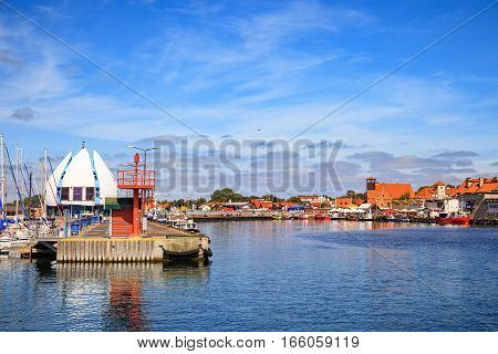 View on the quay in port of Hel Poland.