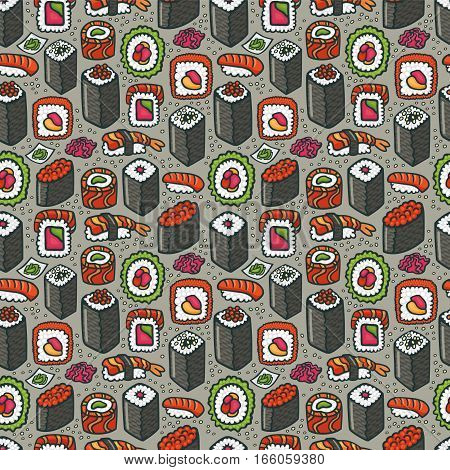 Sushi seamless pattern in vector. Colorful hand drawn pattern with different types of sushi and rolls. Perfect background for wrapping of meal or corporate identity of a japanese cuisine restaurant