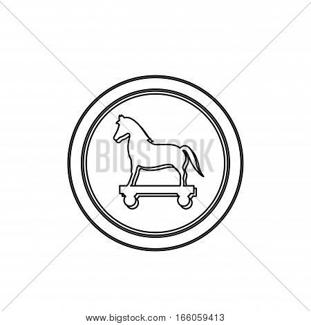 monochrome contour in circle with trojan horse vector illustration