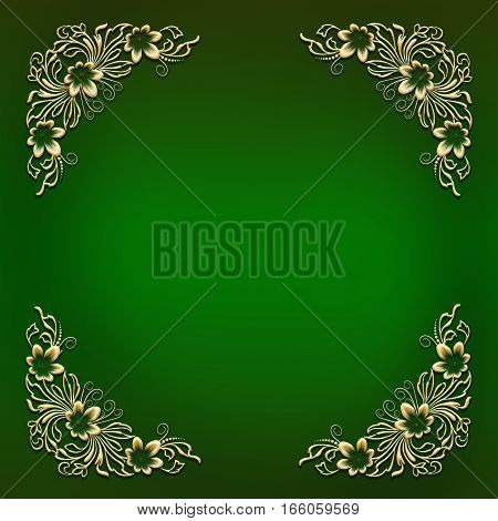 Elegant green frame with golden floral ornament in corners decorated