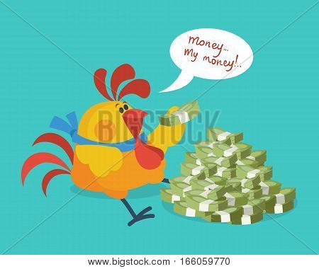Rooster bird counts money. Money, my money. Cock successful businessman. Chinese calendar zodiac cock horoscope. Chicken character collection in flat. New year xmas greeting card. Vector illustration