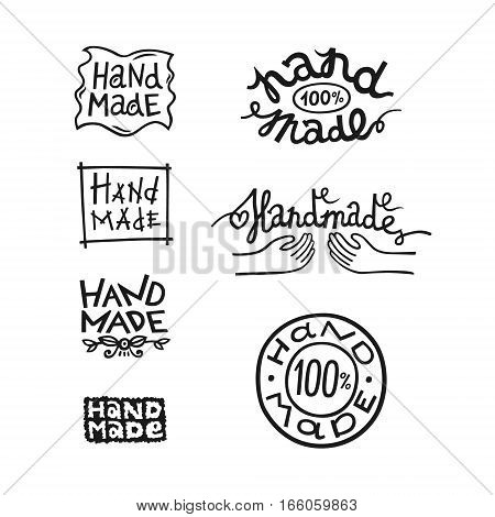 Set of vintage handmade badges, labels and logo elements, retro symbols for local sewing shop, knitwear company, handmade artist.