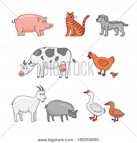 Farm animals: cow, pig, goat, sheep, cat, dog, duck, goose, hen, chicken. Cute animal characters in cartoon style