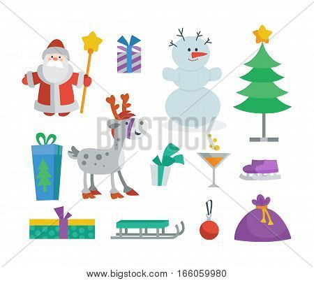 Set of objects for creation New Year and Christmas greeting cards. Santa Claus, gift box, snowman, fir tree, deer, sledge, ball, skates, cocktail, bag. Elements for your design. Vector illustration
