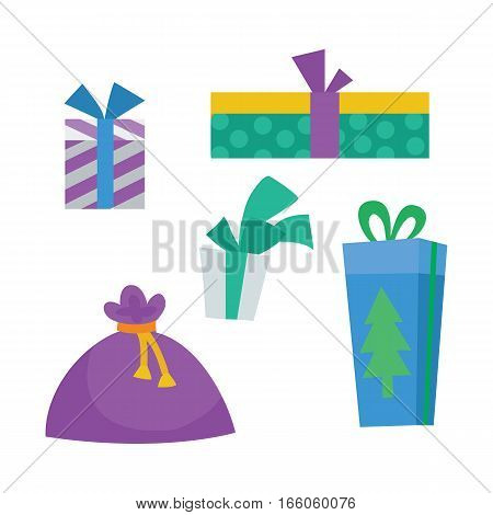 Colorful gift boxes on white background. Christmas presents and bag. Decorative stylish wrap for presents package on boxes with ribbons and bows in New Year style. Gifts web icon sign symbol. Vector