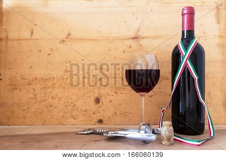 food and drink:Italian wine bottles on wooden background