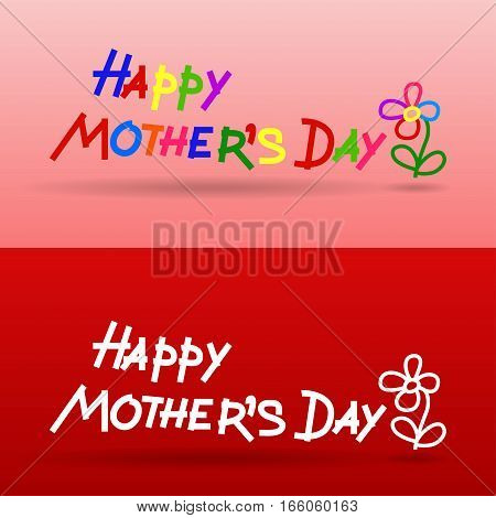 lettering happy mothers day primitive style, imitation of children's handwriting