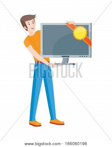 Discounts in electronics store concept. Smiling man standing with TV-set bought on big sale flat vector illustration on white background. Shopping on home appliances sellout. For shop promotions ad