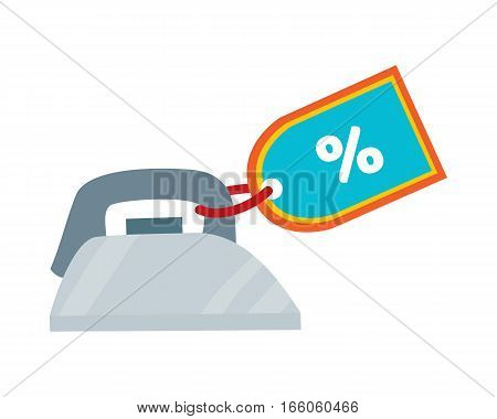 Iron icon with tag. Traditional home appliance for ironing flat vector illustration isolated on white background. Best choice, best price, bestseller signs. For store sale and discount promo