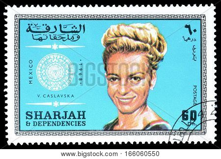SHARJAH - CIRCA 1968 : Cancelled postage stamp printed by Sharjah, that shows Caslavska.