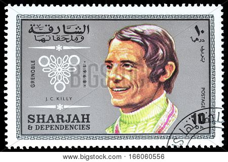 SHARJAH - CIRCA 1968 : Cancelled postage stamp printed by Sharjah, that shows Killy.