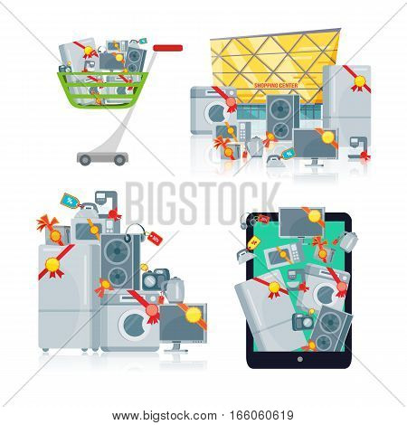 Sale in electronics store concept. Group of different home technics with labels and price tags near shopping center, in shopping trolley, on tablet screen flat vector illustration isolated on white